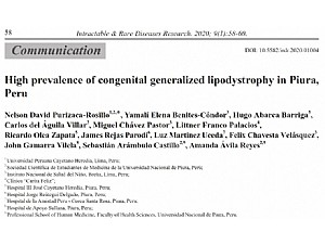 A descriptive and observational study is published which determines the high prevalence of generalized congenital lipodystrophy in the region of Piura (Peru)