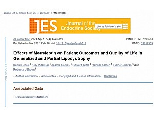 A study published in the Journal of the Endocrine Society demonstrates that metreleptin is associated with significant clinical and quality of life improvements in patients with generalised and partial lipodystrophy.