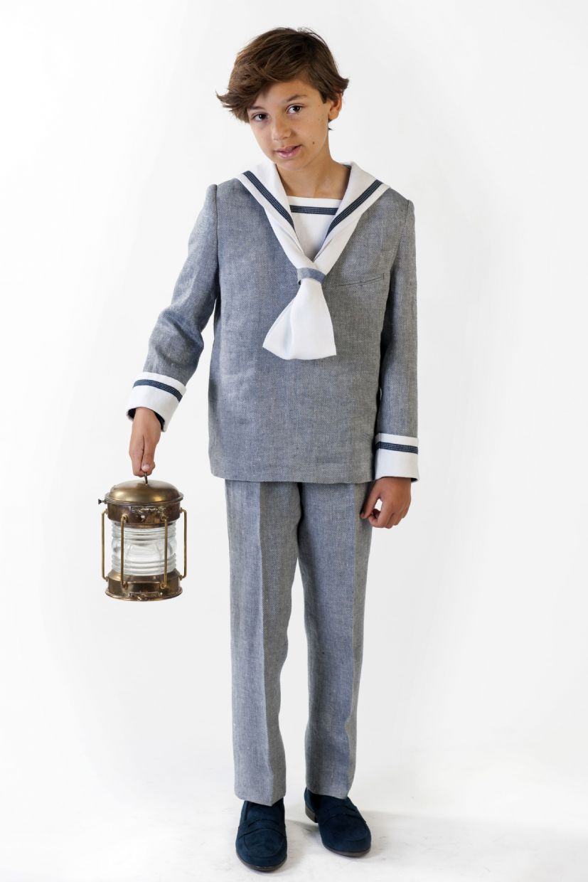 Traje marinero lino en color gris y blanco