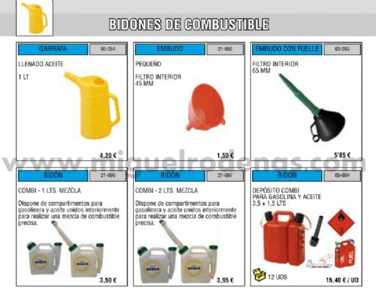 BIDONES DE COMBUSTIBLE